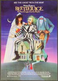 Beetlejuice Movie Poster Original One Sheet 1988 Tim Burton Michael Keaton Ghosts