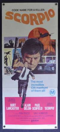 Scorpio Daybill Movie Poster Original 1973 Burt Lancaster Paul Scofield CIA