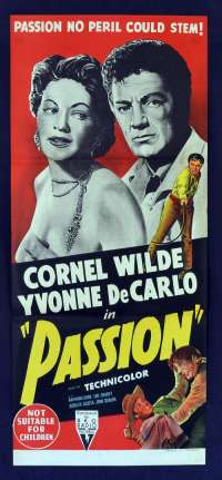 Passion 1954 Daybill movie poster RKO Cornel Wilde Yvonne De Carlo stone litho
