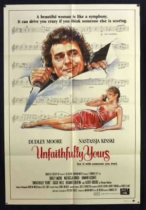 Unfaithfully Yours Movie Poster Original One Sheet Dudley Moore Nastassja Kinski