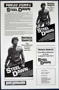 Steel Dawn 1987 Movie Press Sheet Patrick Swayze Lisa Niemi