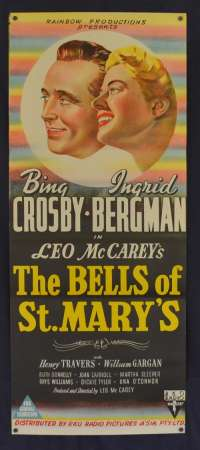 The Bells Of St.Mary's Movie Poster Original Daybill 1945 Bing Crosby Ingrid Bergman