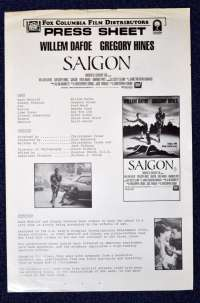 Saigon 1988 Movie Press Sheet 2 pages Vietnam Willem Dafoe Gregory Hines