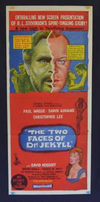 The Two Faces Of Dr. Jekyll 1960 Christopher Lee Hammer Horror Daybill movie poster