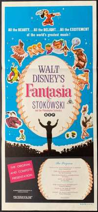 Fantasia movie poster Original Daybill 1963 Re-Issue Disney