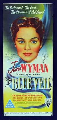 The Blue Veil 1951 Daybill movie poster stone litho RKO Jane Wyman Joan Blondell
