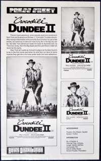 Crocodile Dundee 2 1988 Movie Press Sheet Paul Hogan Linda Kozlowski