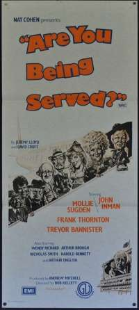 Are You Being Served Daybill Movie Poster 1977 Mollie Sugden John Inman