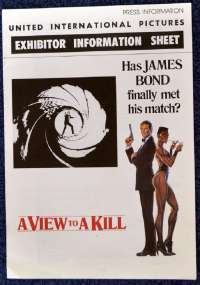 A View To A Kill Exhibitor Information Booklet Original 1985 Roger Moore 007