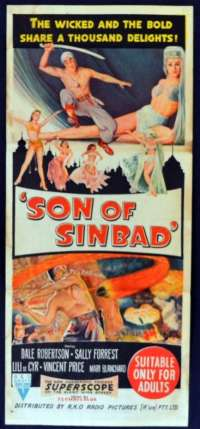 Son Of Sinbad 1955 Daybill movie poster RKO Dale Robertson Vincent Price