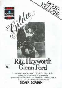 Gilda 1946 Home Video Press Release 1986 2 pages Rita Hayworth
