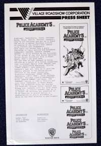 Police Academy 5 1987 Movie Press Sheet Michael Winslow Bubba Smith