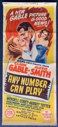 Any Number Can Play Poster Original Daybill 1949 Clark Gable Alexis Smith