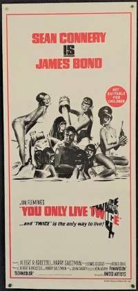 You Only Live Twice Movie Poster Original Daybill RI 80's Sean Connery James Bond