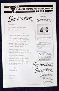 September Press Sheet Original 1987 Woody Allen Mia Farrow Dianne Wiest