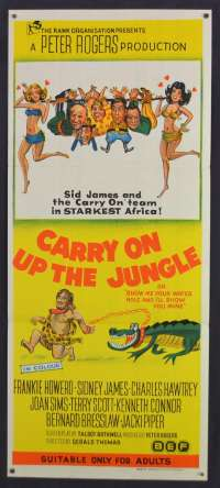 Carry On Up The Jungle Movie Poster Original Daybill 1970 Sid James Frankie Howerd