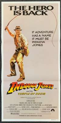 Indiana Jones And The Temple Of Doom Poster Original Daybill 1984 Advance whip art