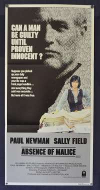 Absence Of Malice Poster Original Daybill 1981 Paul Newman Sally Field