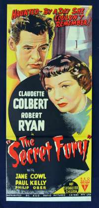 The Secret Fury 1950 movie poster Daybill Film Noir RKO Claudette Colbert