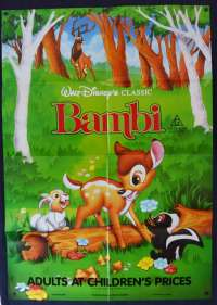 Bambi Poster Original One Sheet 1989 Re-Issue Disney Thumper Deer
