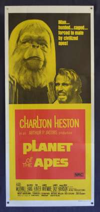 Planet Of The Apes 1968 Daybill Poster Original 1970's Re-Issue Charlton Heston